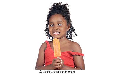 Girl eating ice cream - Little girl eating ice cream orange...
