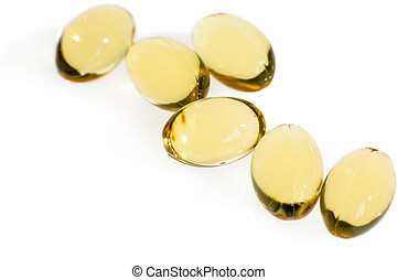 fish oil capsules isolated on white background - fish oil...