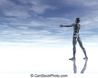glass man - man figure with open arms under cloudy blue sky...