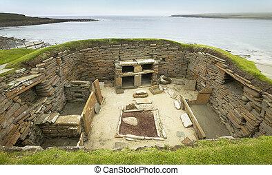 skara, prehistórico,  Orkney, Escocia, sitio, escocés,  brae