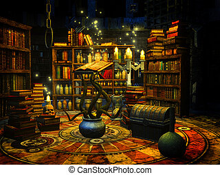 Wizard's study - 3d render illustration