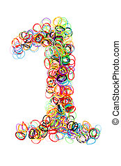 Colorful elastic rubber bands shape Number one - Colorful...