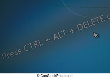 "display with word ""press Ctrl + Alt + Del"" on display for..."