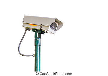 cctv camera security on white background for safety concept