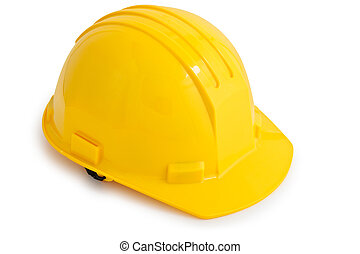 Helmet - Yellow safety hard hat Isolated on white background...