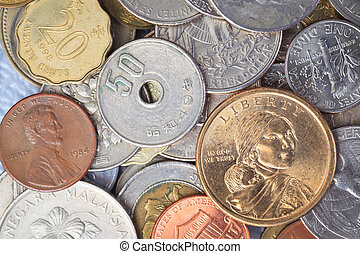 """US American coin with wording """"in God we trust"""" on top of..."""