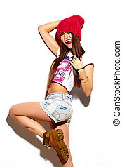 High fashion lookglamor stylish beautiful young woman model...