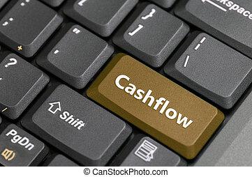 Cashflow key on keyboard - Brown cashflow key on keyboard