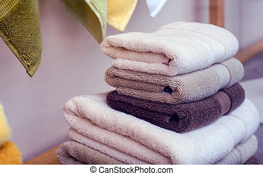 Towels - Stack of towels in the clothes shop