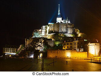 Mont Saint-Michel (France) - Mont Saint-Michel night view....
