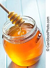 miel, cucharón,