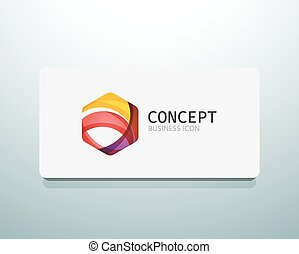 Abstract logo design, wave shape hexagon. Business concept