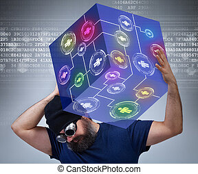 Information technology worker carying the weight of the...
