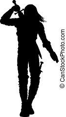 Warrior man silhouette - Stylized silhouette of walking...