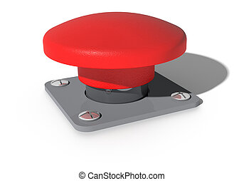 Big red button - A Big red button isolated on white