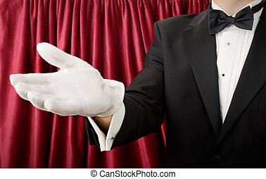 Welcome - Person in a tuxedo and white gloves presenting or...