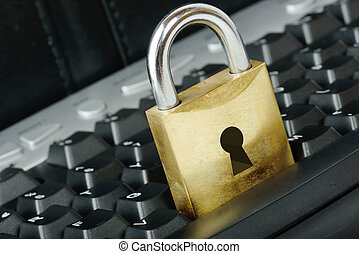 Secure browsing - Padlock on a keyboard for a concept of...