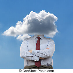 Head in the clouds - Businessman with head in the clouds