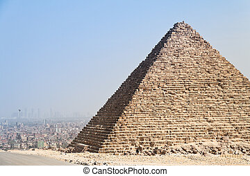 egypt, giza, cheops and chephrenpyramide - highlight of a...