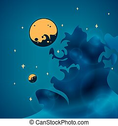 Nebula, planets and stars in space, vector illustration -...