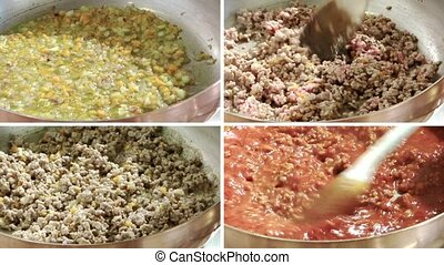 cooking bolognese meat sauce collage