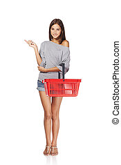 Shopping woman Full length excited casual young woman with...