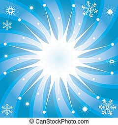 Christmas background with snowflakes and rays