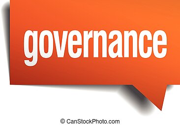 governance orange speech bubble isolated on white
