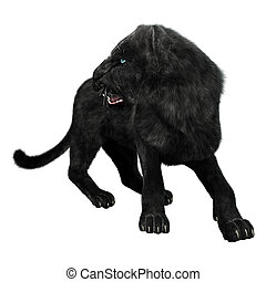 Black Panther - 3D digital render of a black panther looking...