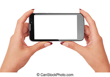 smart phone - Hand holding smart phone isolated on white...