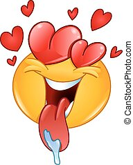 Love emoticon - In love emoticon with hearts and tongue out...