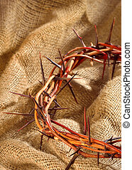 crown of thorns - closeup of a representation of the Jesus...