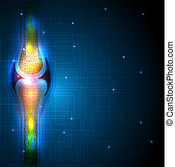 Joint anatomy abstract blue background, beautiful bright...