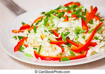 Chinese cabbage salad with red bell pepper