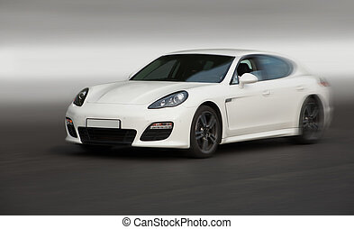 car moves on road - white luxury car moves on road