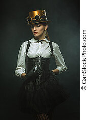 Elegant steampunk girl with the clock