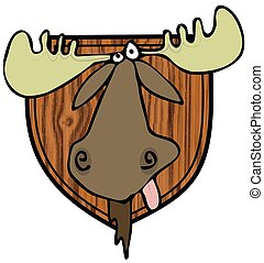 Moose head mount - This illustration depicts a taxidermy...