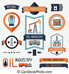 Industrial badges labels with oil and petrol icons.
