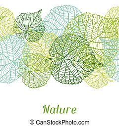 Seamless nature pattern with green leaves - Seamless nature...