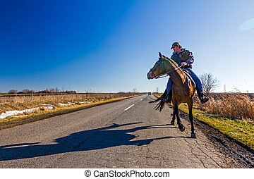 Rider - Man is riding a horse on rural landscape, road of...
