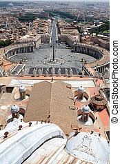 Panorama of Rome from the top of the cathedral in the Vatican