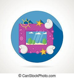 Flat vector icon for sea picture - Single round flat vector...