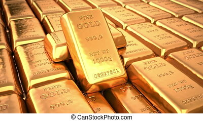 Golden ingots in bank vault or safe Loop business 3d...