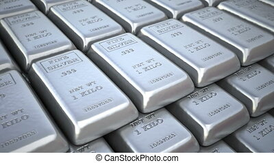 Silver bars or ingots in bank vault or safe Finance loop 3d...