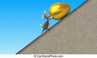 Easter Bunny and giant golden egg - Easter Bunny walking in...