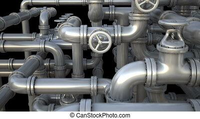 Giant pipeline with valves at fantasy factory Camera flying...