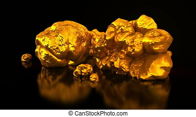 Gold mining. Native gold. Golden nuggets on black...