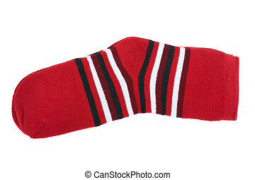 Red knitted socks - isolated object on white - knitted socks