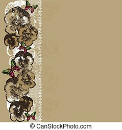 Vintage background with lace and pansies. Vector...