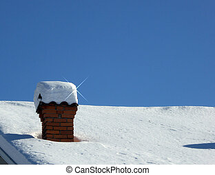 Chimney under snow hat